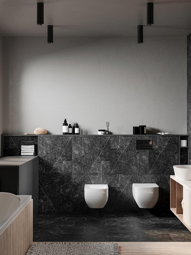 Idee bagno moderno piccolo, rivestimento bagno con piastrelle nere, faretti sul soffitto