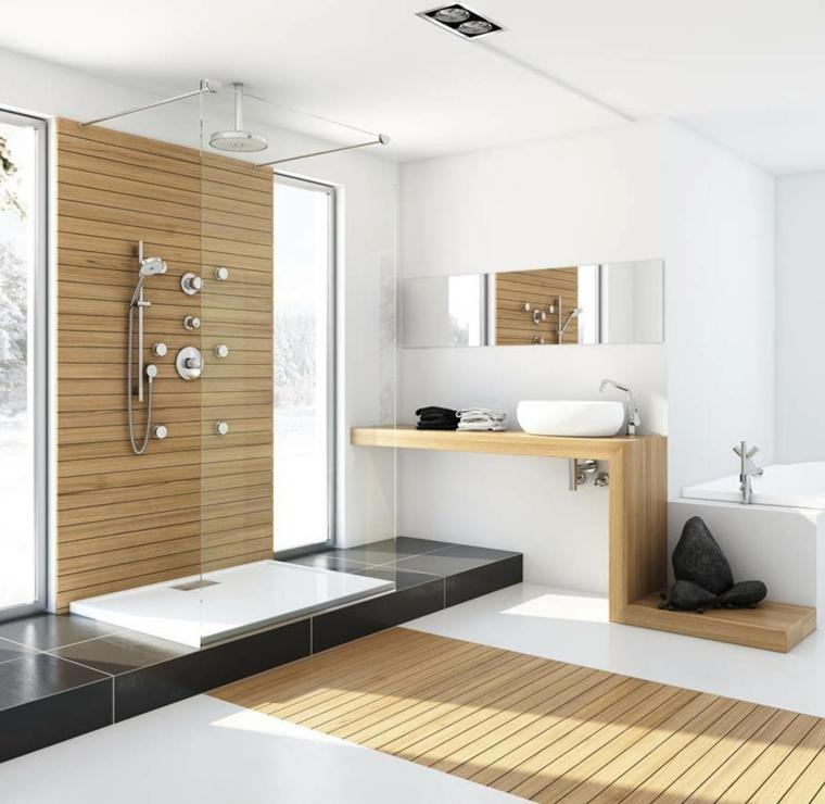 Idee bagno piastrelle di colore nero e bianco, mobile di legno con lavabo rotondo da appoggio