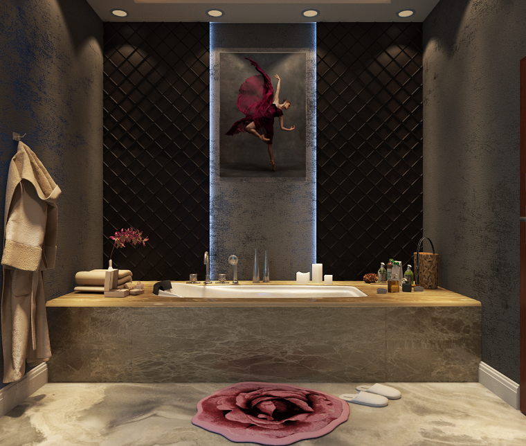 Come arredare un bagno moderno con vasca rivestita di marmo, decorazione parete con un quadro