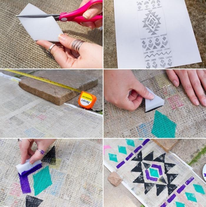 Tutorial disegni con colori, spugna e forbici, decorazioni tavola