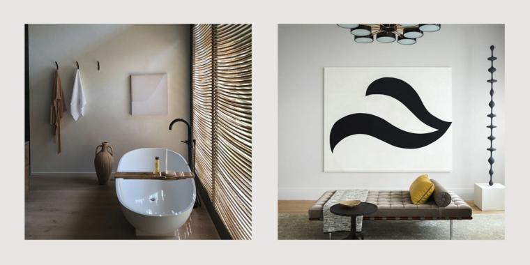 sala da bagno con vasca abbinamento tonalità tortora con mobili