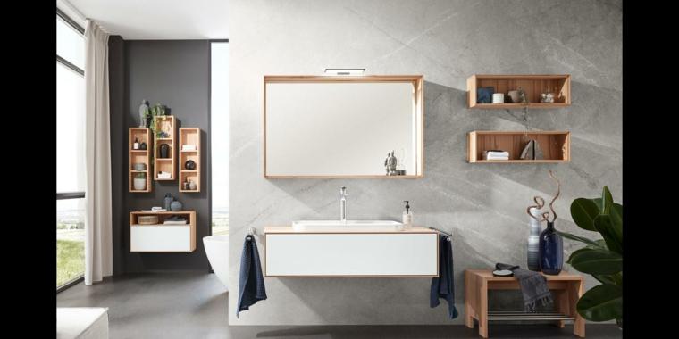 Mobile di legno sospeso con lavabo da appoggio, parete di colore grigio con scaffali