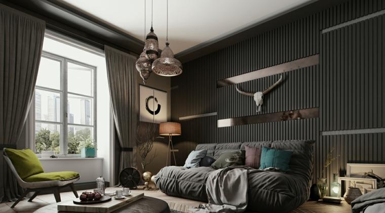 Soggiorni moderni, arredamento salotto con un divano morbido e un tavolino, lampadario particolare a sospensione