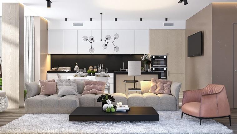 Open space con un divano grigio e poltrona rosa, pavimento parquet con tappeto bianco pelo lungo