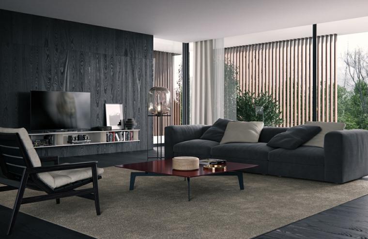 Parete attrezzata moderna di colore nero, tavolino basso e un divano di colore grigio