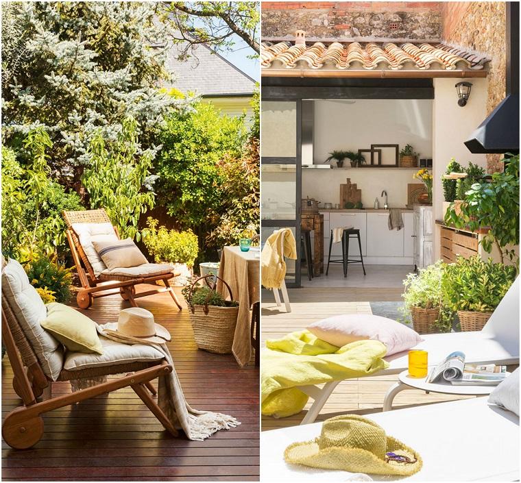 Due proposte di arredamento con sdrai, piante da giardino e in vasi di vimini
