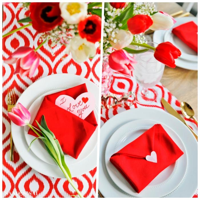 Segnaposti di San Valentino, tovagliolo rosso piegato, vaso di fiori