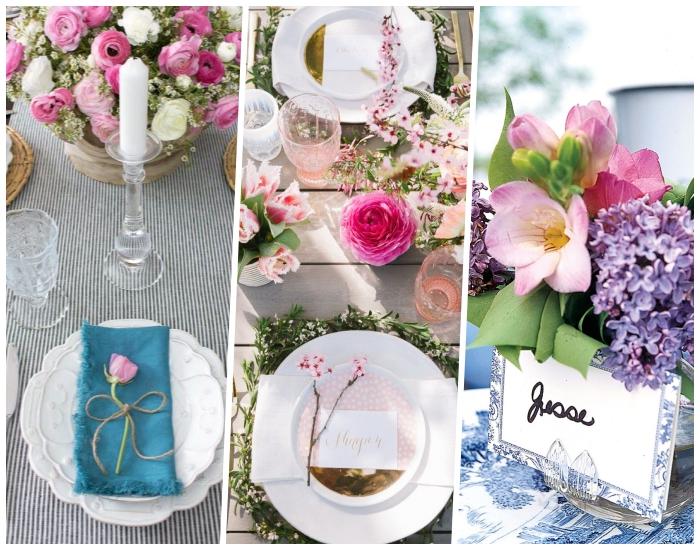 Segnaposti con fiori, tavolo apparecchiato, calici di cristallo
