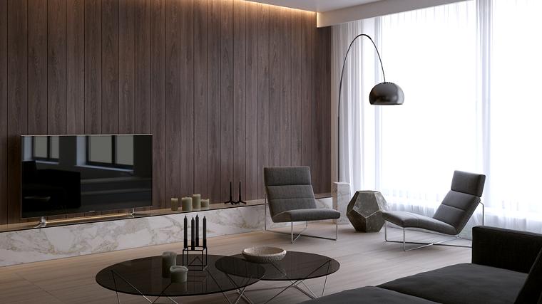 Salotto moderno con divano e due poltrone, parete di legno con illuminazione nascosta