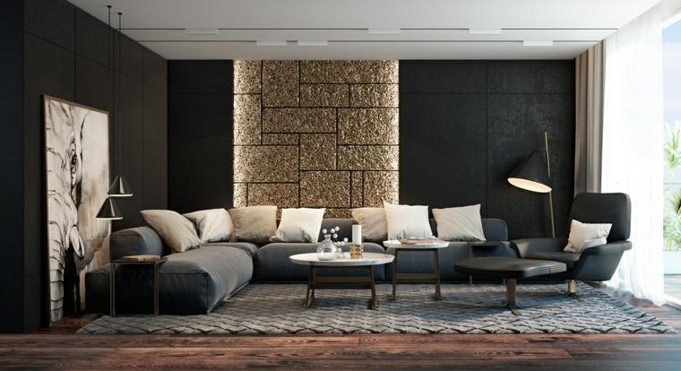 Salotto con pareti di colore nero, divano con tanti cuscini bianchi e tavolini rotondi con superficie di marmo