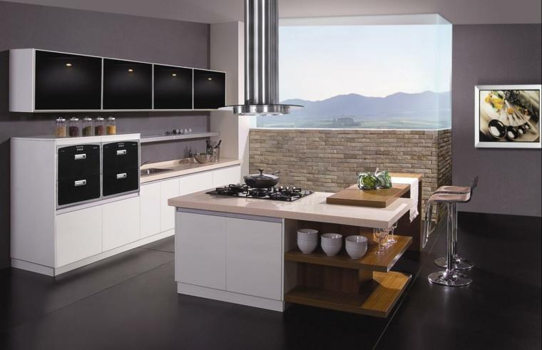 idea per arredare cucine moderne piccole, con isola a l centrale con fuochi, tavolo e ripiani e parete in muratura