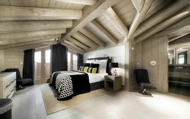 bellissima camera da letto e idea per come arredare una mansarda con letto e tende nere