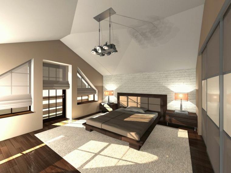moderna e ampia camera da letto con struttura letto in legno scuro, parquet e tappeto bianco, arredare masarda