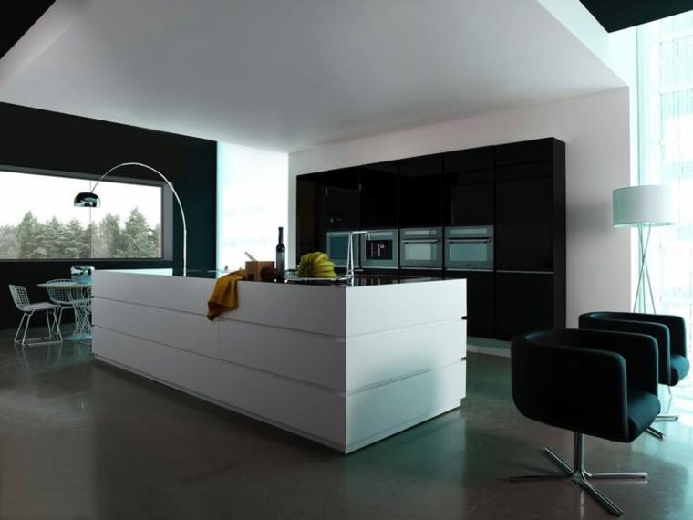 stile essenziale cucine moderne con una grande isola bianca attrezzata, mobili a parete neri