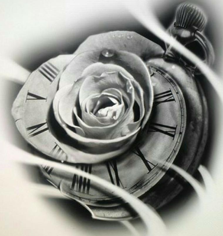 suggestivo immagine di una rosa all'interno di un orologio rotondo da tasca, idea per tatuaggio rosa
