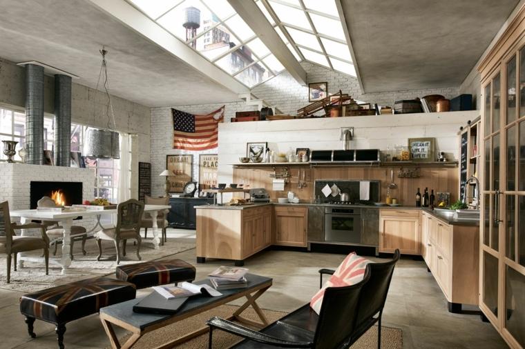 loft in stile industriale con cucina a forma di u in legno, camino in muratura bianco