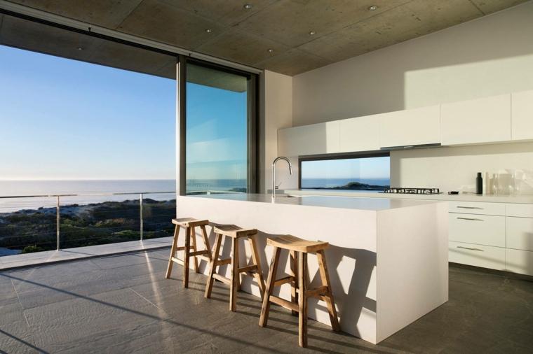 ampia e luminosa stanza con un arredamento essenziale per cucine moderne con isola