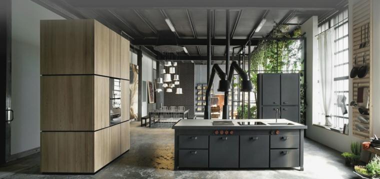 proposta di isola cucina in stile industriale con mobili grigio scuro e color legno