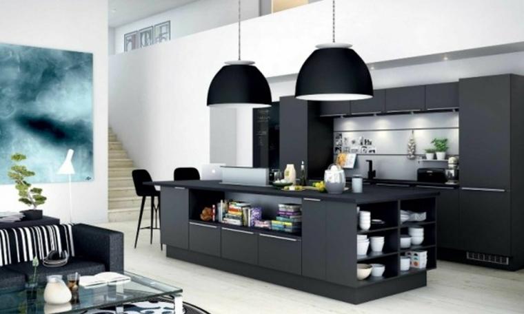 arredamento per cucine moderne con isola nere in un open space con divano e tavolino