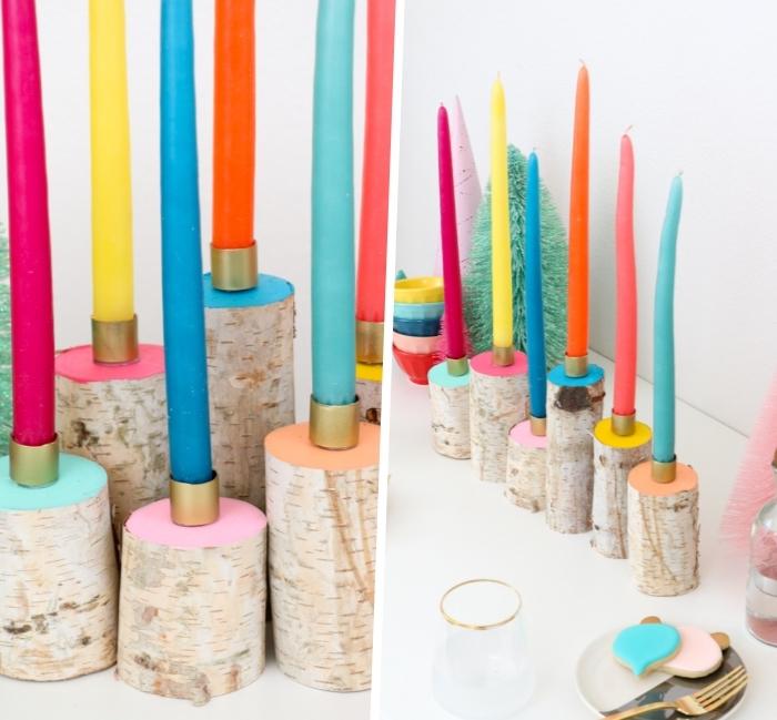 Addobbi natalizi fai da te, portancandele di legno, candele colorate