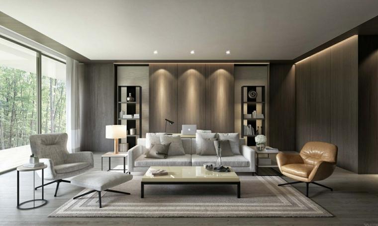 Salotti moderni con divano bianco e tavolino con superficie lucida, parete di legno con un'illuminazione nascosta