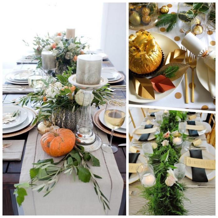Portacandele di vetro, centrotavola con fiori, tavola apparecchiata