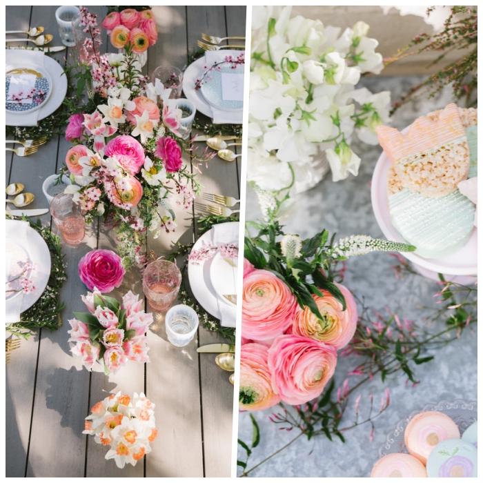 Centrotavola con fiori, tavolo di legno, sottopiatti con rametti verdi