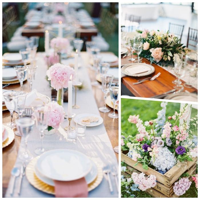 Centrotavola con fiori, runner bianco, cassetta di legno, bouquet di fiori