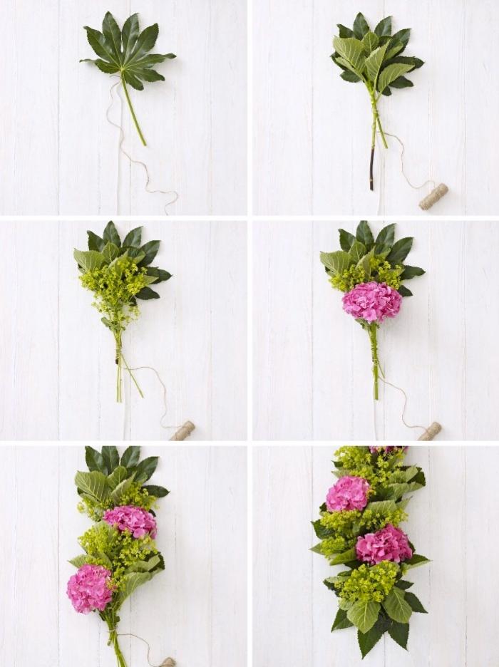 Tavole natalizie, foglia verde legata con filo, tutorial con fiori