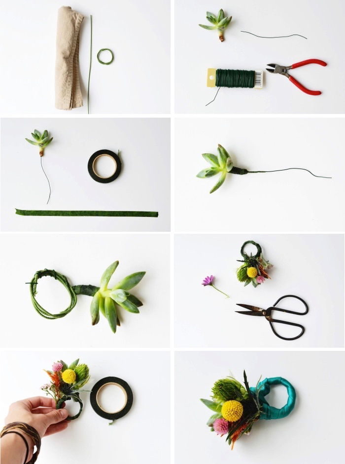Materiali per fare un anello floreale, segnaposti con fiori, decorazioni tavola
