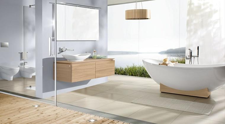 Bagni moderni e un'idea con mobile di legno sospeso e pavimento con piastrelle di grès porcellanato