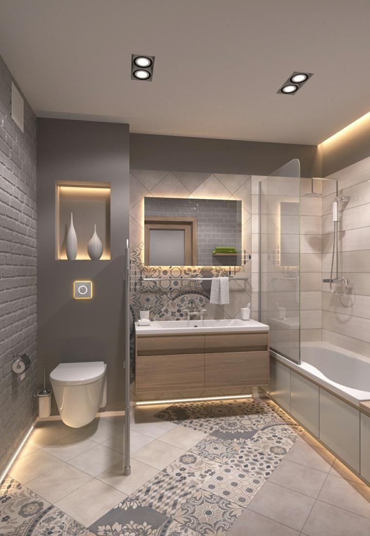 Piastrelle bagni moderni di colore grigio, wc separato con un pannello, mobile di legno cassetto e lavabo da incasso