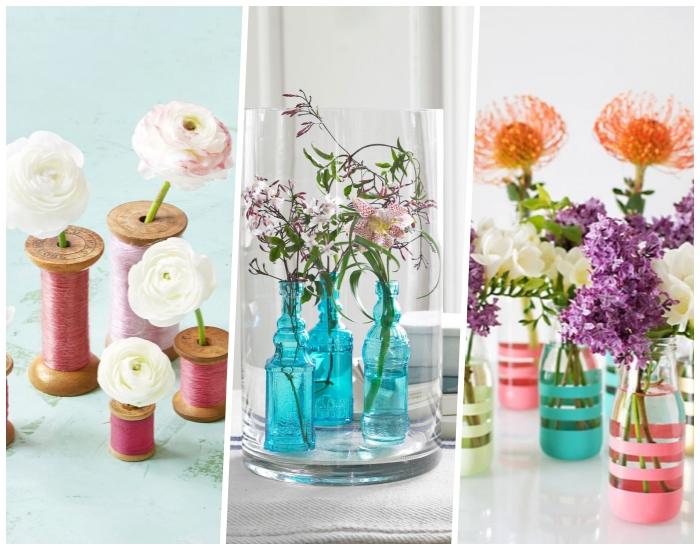Bottiglie di vetro come vasi, vasi di fiori, idee centrotavola fiori