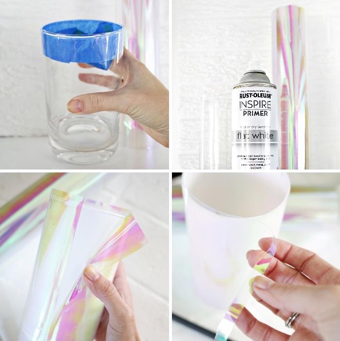 Tutorial con vernice spray, vaso decorato, segnaposti tavola natale