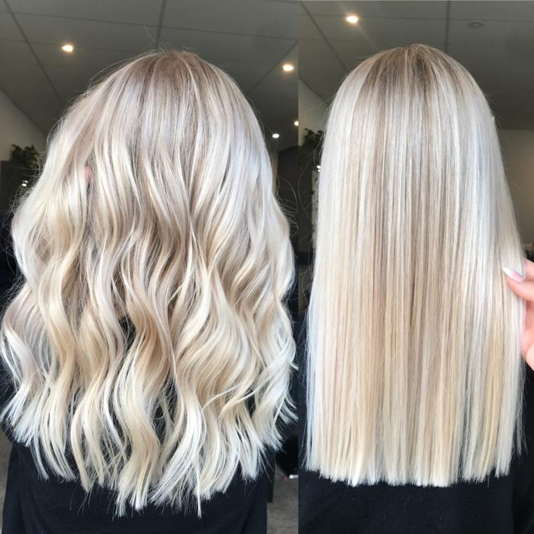 capelli lunghi con due tipi di pieghe liscia e ondulata con dei balayage biondo
