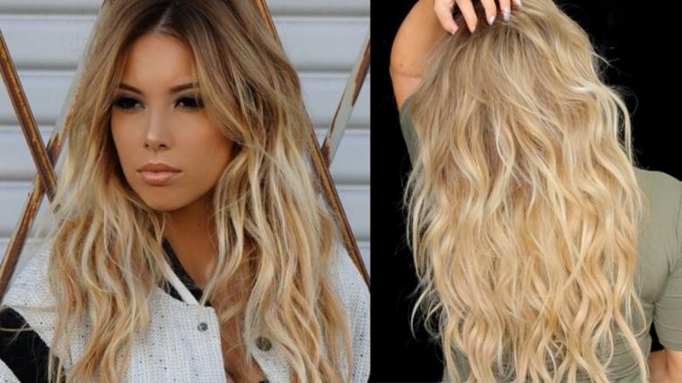 capelli biondissimi lunghi con morbide onde naturali. come fare i capelli mossi