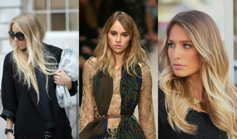 tre proposte moda per i capelli lunghi con un degradè biondo di diverse tonalità