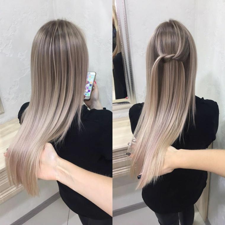 bellissimi capelli lunghi con un'acconciatura liscia, idea per colore capelli balayage