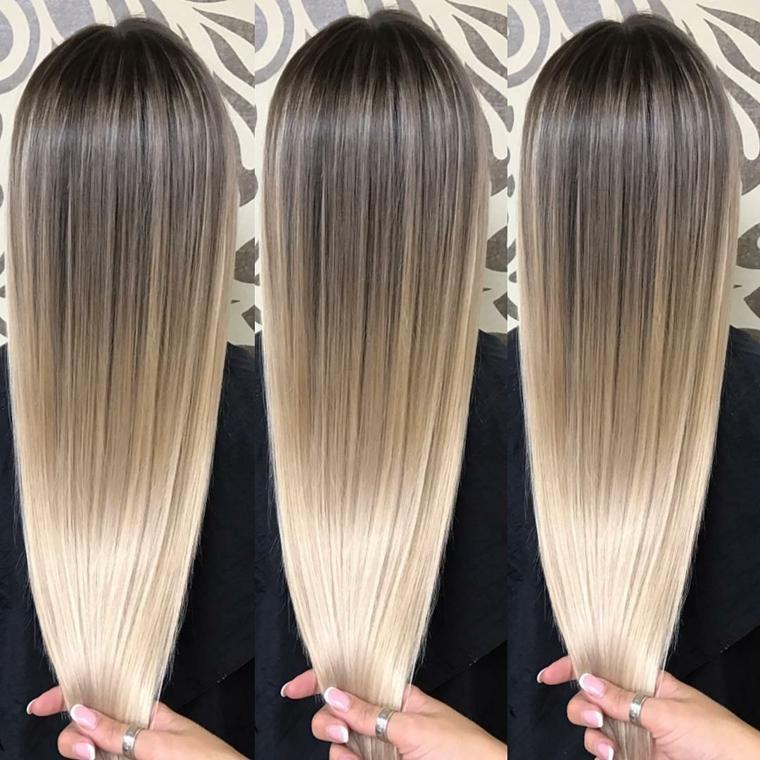 bellissimi capelli molto lisci e lunghi, idea per realizzare un degradè biondo luminoso