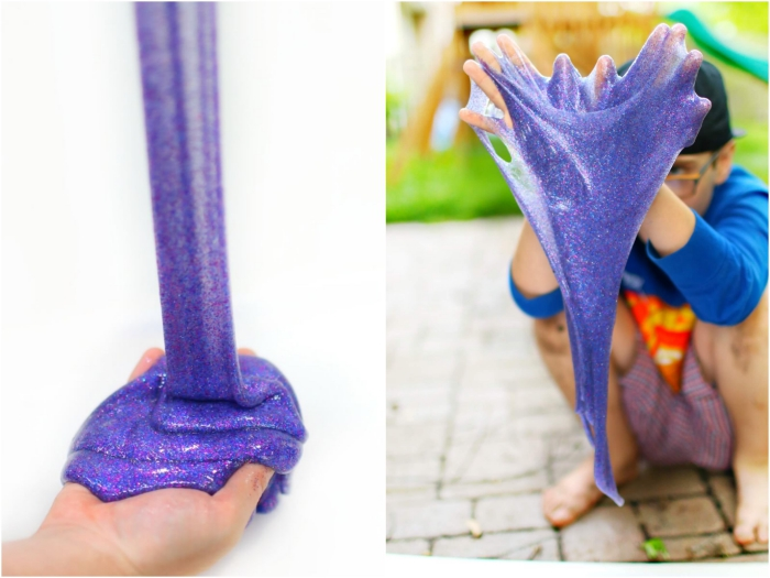 Fluffy slime ricetta da fare in casa, un bambino che gioca con la pasta colorata di colore viola