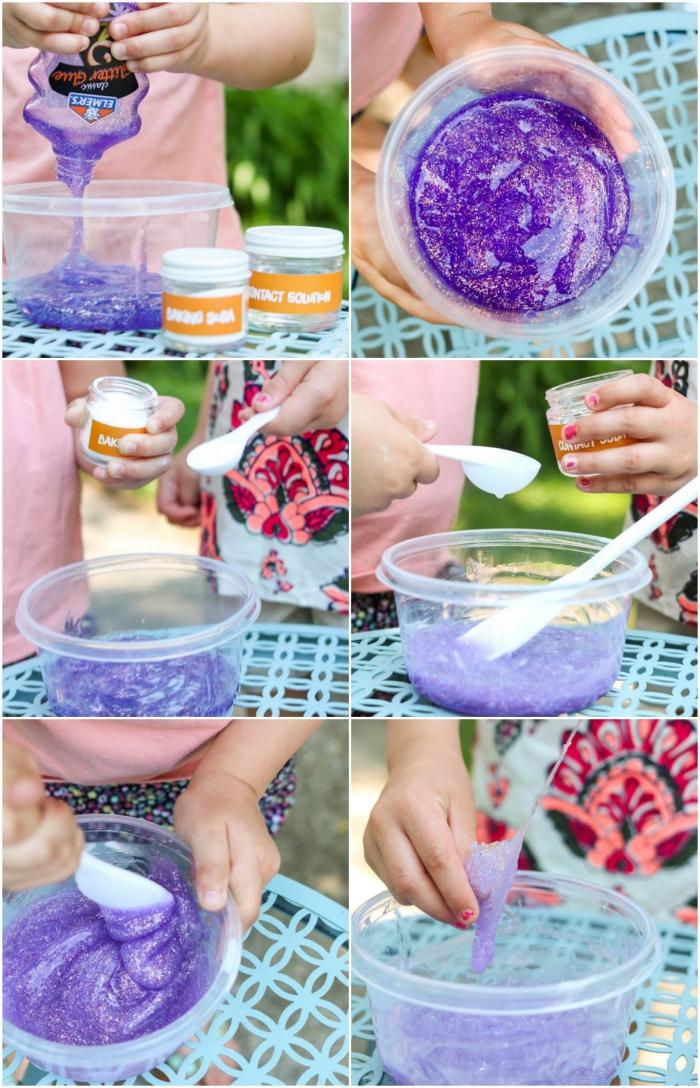 Ingredienti per fare lo slime con soluzioni per lenti a contatto e colla glitter di colore viola