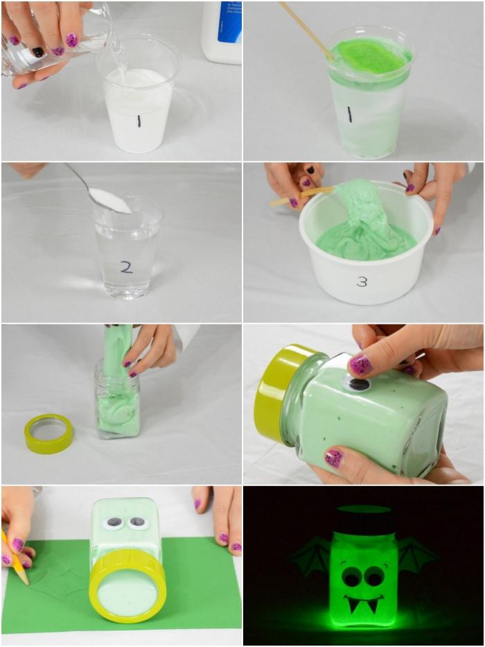 Fluffy slime ingredienti e procedimento con tutorial per la realizzazione di un barattolo fosforescente di pipistrello