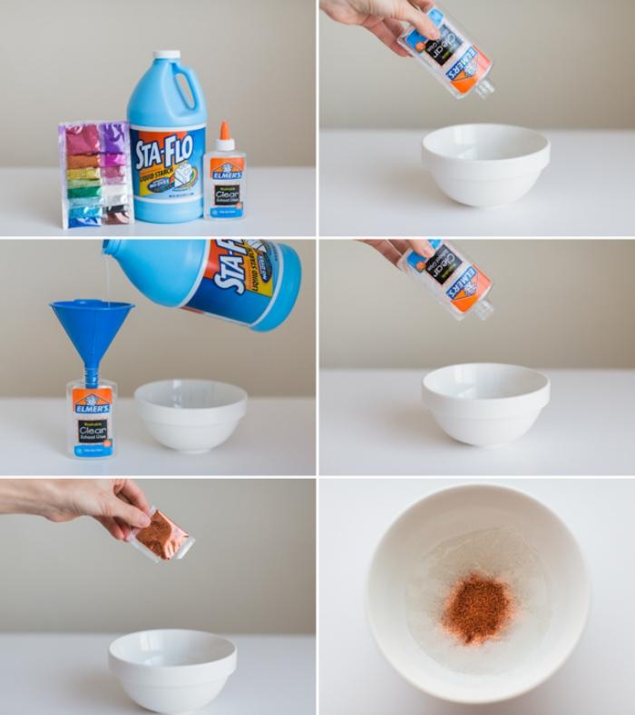Fluffy slime ingredienti a base di colla liquida e coloranti, versare tutto in una ciotola