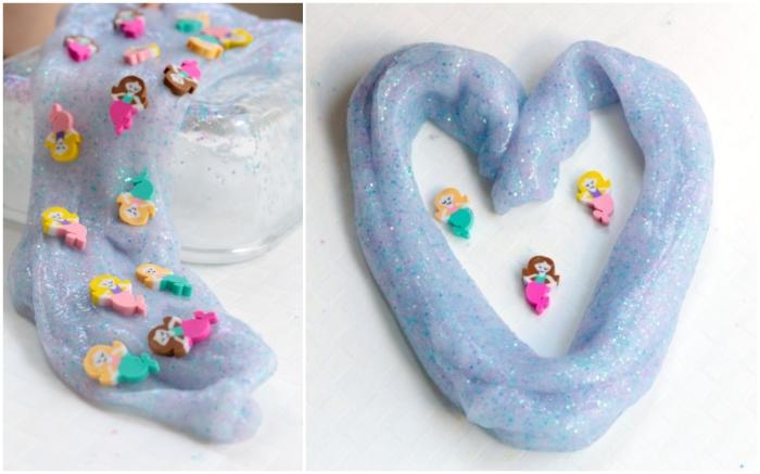 Slime ricetta con colla glitter di colore viola chiaro e decorazione con piccole sirene