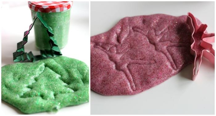 Ingredienti slime con colorante di colore viola e verde conservato in un barattolo di vetro