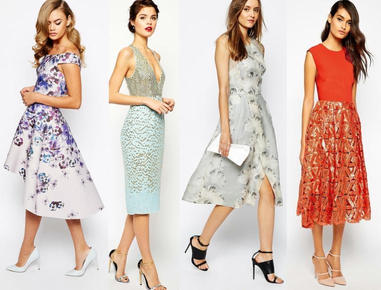 Vestiti per cerimonia donna, proposte eleganti con motivi floreali e lunghezza midi
