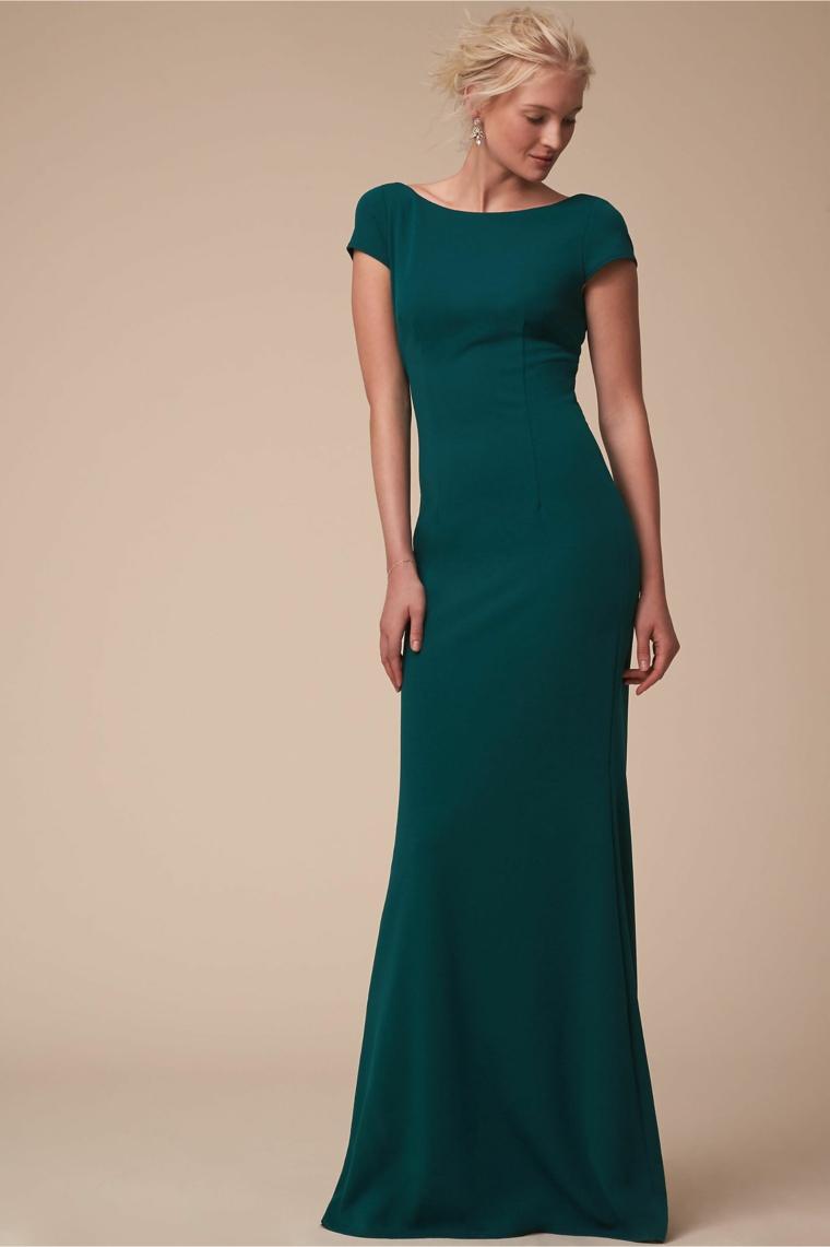 Abito elegante molto lungo e di colore verde scuro per un matrimonio serale