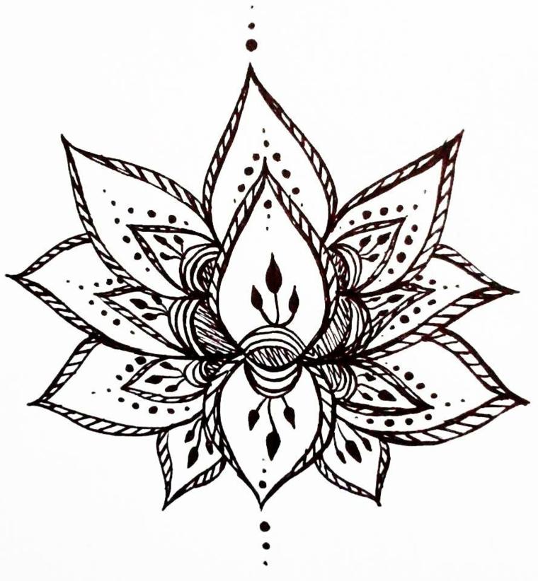 Mandala fiore di loto disegnato su un foglio bianco con tanti ornamenti e puntini