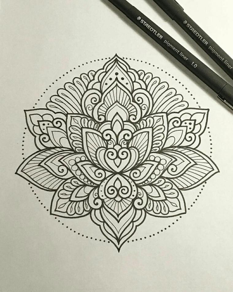 Mandala tattoo uomo e un disegno su un foglio bianco con tanti ornamenti e cerchio di puntini