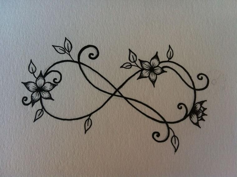 Idea per un disegno di tatuaggi femminili braccio, simbolo infinito con tanti piccoli fiori
